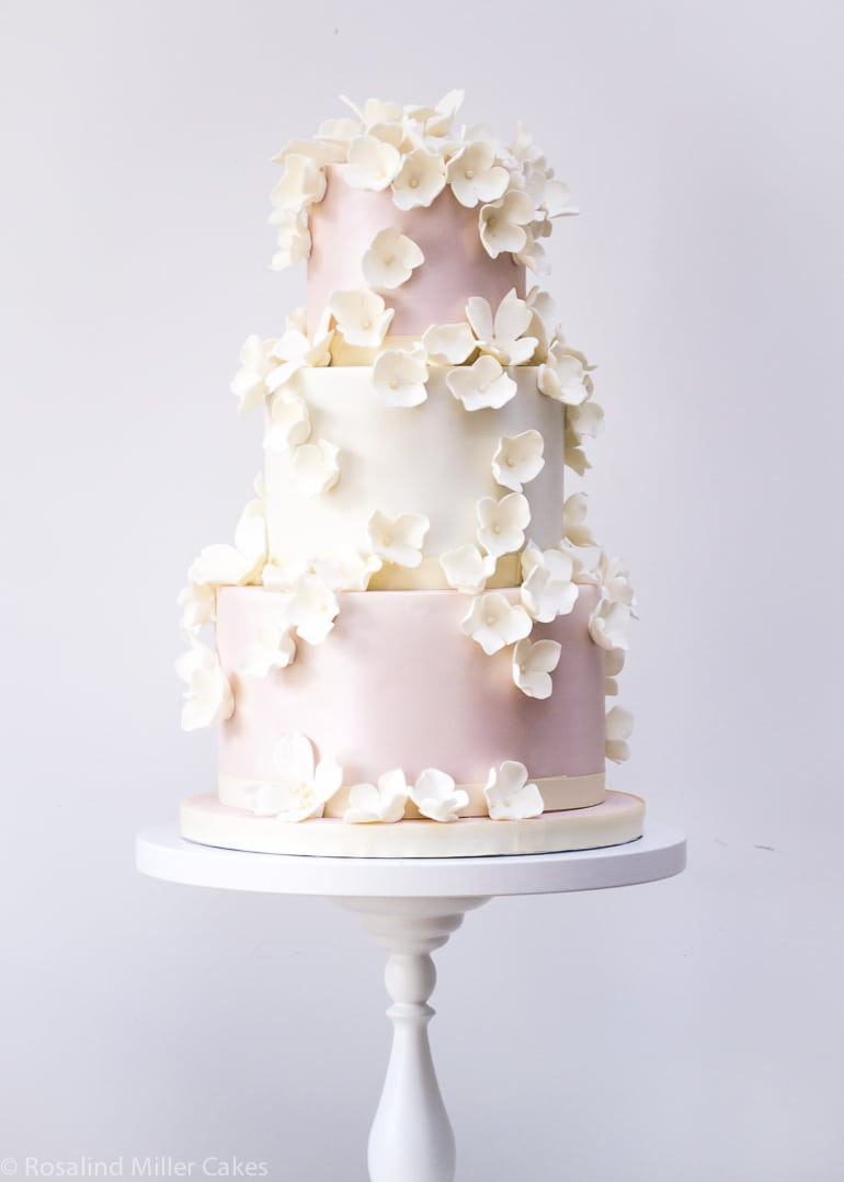 Falling Blossoms Wedding Cake